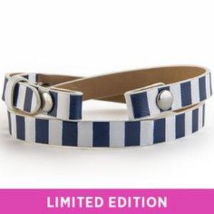 "White Navy Striped Leather Wrap Bracelet 6-7.25"""
